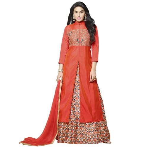 Silk Embroidered Partywear Salwar Suit.