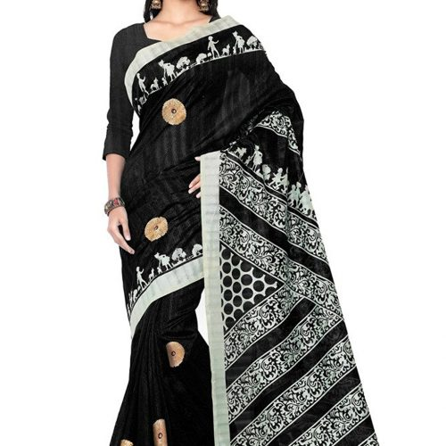 Silk Gotta Work Print Saree