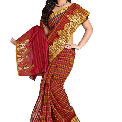 Supernet Multi Checks Saree(1)